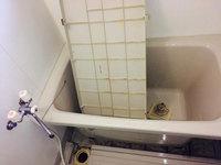 浴室、洗面所クリーニング エプロン内部洗浄中 鹿児島市