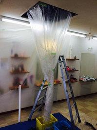 美容室店舗ワックスと業務用エアコンクリーニング 4方向天カセタイプ 清掃クリーニング作業中 鹿児島市