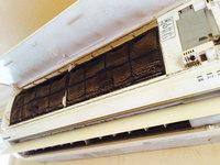 家庭用エアコンクリーニング 作業前 タバコヤニ汚れ 鹿児島市谷山方面