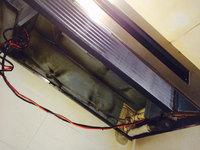 店舗業務用エアコン清掃クリーニング 厨房作業中 天吊り1方向 熱交換器洗浄完了 鹿児島市宇宿方面 おそうじ本舗鹿児島西田店