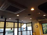 店舗・業務用エアコンクリーニング ホテル内レストラン お得意様 鹿児島市天文館方面 天井埋め込み4方向業務用エアコン清掃クリーニング作業前2