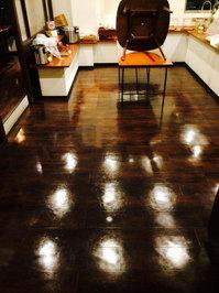 店舗・業務用エアコンクリーニング ホテル内レストラン お得意様 鹿児島市天文館方面 フロア洗浄ワックス完了1