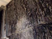 飲食店 業務用エアコンクリーニング 鉄板焼屋さん 鹿児島市内 おそうじ本舗鹿児島西田店 洗浄作業前すごいカビ汚れ 熱交換器目詰まり 風量低下