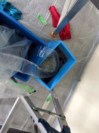 オフィス 入居前カーペット床洗浄クリーニングと業務用エアコンクリーニング リピーター様 鹿児島市内 おそうじ本舗鹿児島西田店 東芝4方向エアコン 洗浄後の汚水