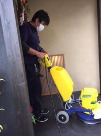 石材床洗浄中 老舗料亭様 年末定期清掃クリーニングサービス 鹿児島市照国方面